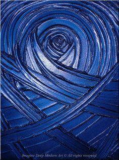 Blue Painting Indigo Royal Navy Blue - Healing Sapphire Creation - 18x24 High Quality Original Textural Sculptural Impasto Modern Fine Art