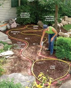 instructions on building backyard stream and waterfalls.