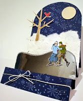 winter step-card ... ice-skating pair on a moonlit winter night ... Deb put in  fun details ... fluffy snow, red bird in a tree, shiney ice ... delightful!! ... Stampin' Up!