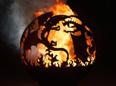 Steel Fire Pit Designs: Fire Balls are Custom Made - Hearth pit . Love this and dragons too! >>> Have a look at more at the photo The Effective Pict - Metal Fire Pit, Diy Fire Pit, Fire Pit Backyard, Fire Pits, Backyard Seating, Dragon Fire Pit, Fire Pit Gallery, Fire Pit Party, Fire Pit Landscaping