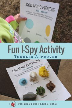 Fun printable I-Spy outdoor activity for toddlers and preschoolers. Great for the Bible story of creation. Creation Bible Crafts, Creation Activities, Bible Story Crafts, Bible Crafts For Kids, Kids Bible, Bible Stories, Preschool Bible Activities, Preschool Lessons, Toddler Preschool