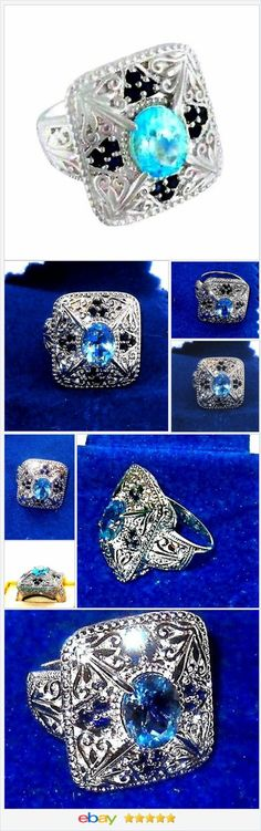 Blue Topaz and Sapphire Ring 12.88 grams of silver size 7 USA SELLER  | eBay  50% OFF #EBAY http://stores.ebay.com/JEWELRY-AND-GIFTS-BY-ALICE-AND-ANN