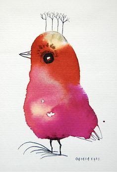 Bird with trees  Vogel met bomen  Original bird door BIRDADAY, €14.95