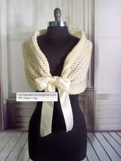 Crochet pattern for beginners. Easy crochet shawl pattern for a bride or bridesmaids. This crochet shawl with double face satin ribbon closure can be worn as a shrug, stole, shawl or shoulder wrap. This easy crochet pattern is the perfect accessory for any wedding. Make a gift the bride will never forget with our one-of-a-kind wedding crochet patterns. *INSTANT DOWNLOAD* This pattern is available for an instant download. Once the payment is confirmed, you will receive an email with a…