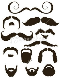 Set of mustache and beard silhouettes Royalty Free Stock Vector Art Illustration