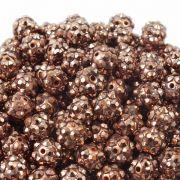 10mm Resin Rhinestone Beads - Bronze