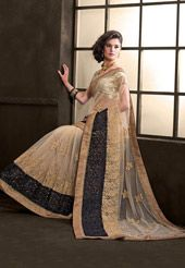 Beige Net Saree with Blouse