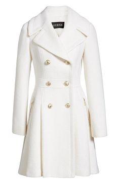Details about GUESS Black & White Wool Blend Short Coat Double how should a coat fit a woman - Woman Coats