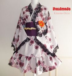 Japanese Kimono Dress washable Kimono Japan Off-White Dress Cosplayer Gothic and Lolita Sakura Maid Dress Kimono Robe Party dress Kawaii 02