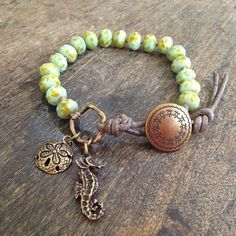 "Sea Horse & Sand Dollar Knotted Bracelet, ""Surfer Girl"" $35.00"