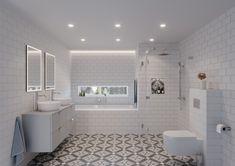 Her får du et moderne og samtidig personlig bad, med en stilmiks som henter inspirasjon fra sydligere strøk og gamle tider. De mønstrede flisene skaper karakter og gir en flott kontrast til rommet. Et nydelig baderom du kan glede deg til å stå opptil.