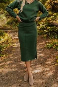 (SponsoredPost) Online searching for popular & hot Sweater Skirt Sets from Women's Clothing, Women's Sets, Mother & Kids, Dresses and more related Swe... Green Dress Outfit, Midi Dress Outfit, Sweater Dress Outfit, Knit Dress, Green Sweater Dress, Green Dress Casual, Wool Dress, Green Winter Dresses, Winter Dress Outfits