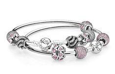 PANDORA bangle bracelets with sparkling charms. #PANDORAbracelet #Pavé #Valentines #Gift