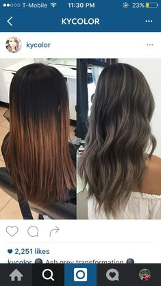 charcoal and ash tones on dark hair! balayge silver