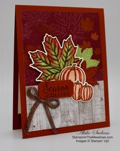 Stampin' Up! Gather Together Season of Thanks Card – Stampin' in the Meadows Thanksgiving Cards, Christmas Cards, Thanks Card, Hand Stamped Cards, Autumn Theme, Creative Cards, Fall Halloween, Stampin Up Cards, Autumn Cards