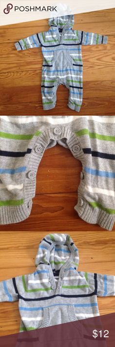 Adorable striped baby sweater onesie 3 month 100% cotton- navy blue, sky blue, white, and green stripes over a beautiful heather grey sweater onesie! Little pocked on belly area is precious! And real buttons for a timeless look- and not too many of them so not an inconvenience for mamas lol. Great Condition! Babies r us One Pieces Bodysuits