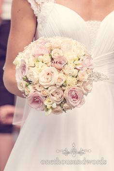 Brides bouquet of pink and yellow flowers at Harbour Heights wedding. Photography by one thousand words wedding photographers Bride Flowers, Bride Bouquets, Wedding Flowers, Wedding Dresses, Dorset Wedding Photographer, Hotel Wedding, Yellow Flowers, Flower Decorations, Event Planning