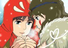 Ashitaka and San (Princess Mononoke) Fanart, Studio Ghibli Movies, Film D'animation, My Neighbor Totoro, Hayao Miyazaki, Bedtime Stories, Cute Anime Couples, Fairy Tales, Anime Art