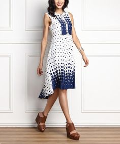 Look what I found on #zulily! White & Blue Dot Button-Front Hi-Low Sleeveless Dress #zulilyfinds