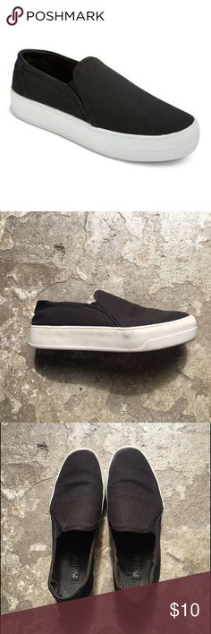 """Made Love - Black Canvas Platform Slip on Sneaker Made Love - Black Canvas Platform Slip on Sneakers.  1"""" white rubber sole.  Very comfortable and go with everything.  May have gotten these at Target but they really are great shoes.  Size 6.  Worn without box. Mad Love Shoes Sneakers"""