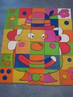 Elke kl krijgt één puzzelstuk, al het klaar is mogen ze het omhoog hangen tot onze puzzel volledig klaar is