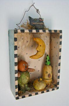 Halloween black cat moon shadow box  sculpted by sandymastroni, $50.00