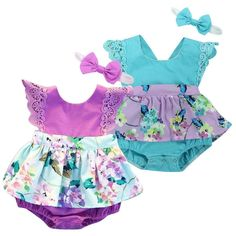 4104ba9c4 Cuteborn Baby Girl Floral Clothes Romper Tutu Dress Headband Outfits Sunsuit