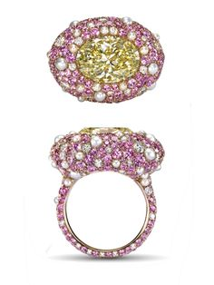 The 'Ricci Rose' ring centers a 5.05 carat oval-shaped diamond with a pavé-set surround comprising diamonds, pink sapphires and pearls. Together, the blend of colors creates a soothing hue similar to that of Rose Quartz. Available for purchase at Sotheby's Diamonds, US$115,000.