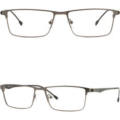 5ce29488f2 Details about Rectangle Full Rim Men s Women s Light Titanium Frames  Prescription Glasses Gray