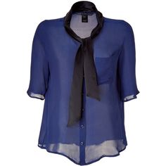 MARC BY MARC JACOBS Twilight Blue Silk Top ($132) ❤ liked on Polyvore