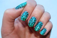 Blue Leopard Print nail decals, very pretty, bright stickers with unique designs by AMnails on Etsy