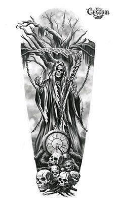 Ultimate List of Halloween Tattoos Custom tattoo design . - Ultimate List of Halloween Tattoos Custom Tattoo Design – Time& Up Grim Reaper Custom Tatto - Evil Skull Tattoo, Skull Sleeve Tattoos, Demon Tattoo, Skull Tattoo Design, Tattoo Design Drawings, Tattoo Sleeve Designs, Angel Of Death Tattoo, Tattoo Sleeves, Tatuaje Grim Reaper