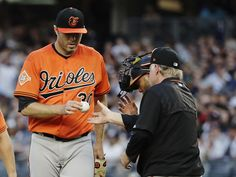 Judge, Yankees batter Orioles 16-3 for 4th straight win  -  June 10, 2017:    Baltimore Orioles starting pitcher Chris Tillman (30) leaves a baseball game during the second inning against the New York Yankees, Saturday, June 10, 2017, in New York. (AP Photo/Frank Franklin II)