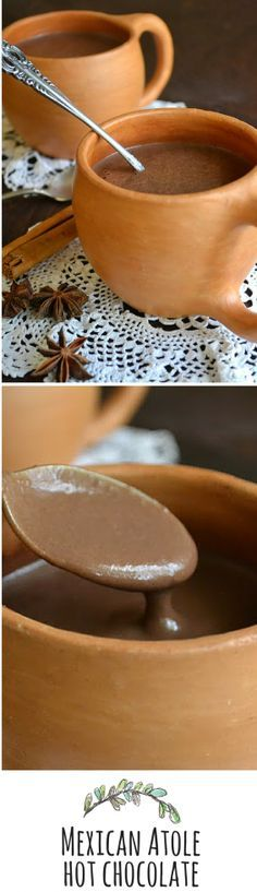 Mexican Chocolate Atole is so thick and rich you're going to need a spoon!
