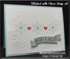Quick & easy snowflake card using Stampin' Up!'s Stitched with Cheer stamp set for the Create with Connie and Mary Thursday Challenge!  Snowflakes, Christmas, #stampinup, #inkspiredtreasures, created by Connie Babbert, www.inkspiredtreasures.com