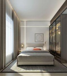 Современная спальня с декоративной светодиодной подсветкой. Серый, белый, бежевый: