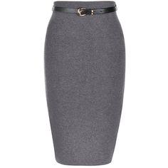 Grey Belted Knit Pencil Skirt ($23) ❤ liked on Polyvore featuring skirts, bottoms, pencil skirts, grey, knit midi skirt, mid calf pencil skirts, elastic waist skirt and gray midi skirt