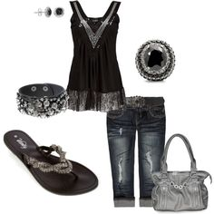 Black, denim and silver  #style #fashion