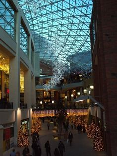 Belfast's Victoria Square Shopping Centre with Christmas Decorations.