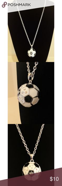 """Hip Hop Bling Iced Out Soccer Football Charm Chain Ships within 24 hours!  New with Tags!  Soccer/ European Football Pendant with Rhinestones Chain: Silver. 24"""" Pendant: White, Black, Silver (crown on the center front and back of pendant) Pendant diameter: 1.25"""" Pendant is completely round  Search: soccer, football, charm, pendant, Europe, Brazil, Argentina, Manchester United, Ronaldo, Bling, Iced Out, women, Unisex, men Jewelry Necklaces"""
