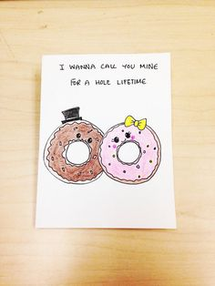 items similar to funny valentines day card funny valentine card funny valentines day card for boyfriend donut card donut pun foodie pun food pun card on etsy ? Funny Valentine, Cute Valentines Card, Valentines Day Puns, Funny Love Cards, Cute Cards, Love Cards For Him, Birthday Love, Birthday Cards, Birthday Quotes