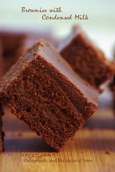 elephants and the coconut trees: Brownies with Condensed milk Condensed Milk Desserts, Sweet Condensed Milk, Brownie Recipes, Cookie Recipes, Bread Recipes, Just Desserts, Delicious Desserts, Indian Dessert Recipes, Tea Cakes