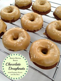 """Recipe: Brown Butter Baked Chocolate Doughnuts with Salted Caramel Glaze...file this in """"I'll probably NEVER make these, but...""""."""