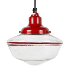 The Scholar Schoolhouse LED Cord Hung Light, 400-Barn Red with Triple Red Stripes | Large Glass