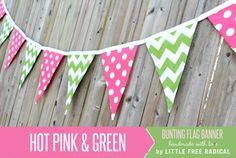 Pink Dot and Green  Chevron Fabric Pennant Bunting Banner   - great for birthday party decor, nursery, playroom, photo prop on Etsy, $30.00