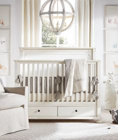 Soft hues. Gently weathered finishes. A peaceful haven for your wee one.