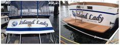 Transom name and hailing port + a flybridge name on a President 41 #islandlady #island