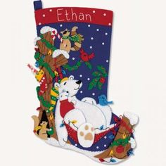 Winter Snooze Christmas Stocking by sunshinemoonbeams for $75.00