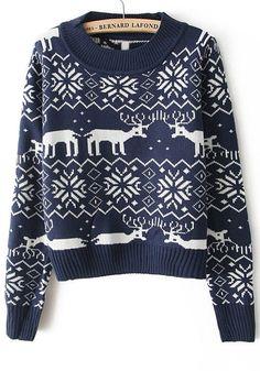 Blue Deer Geometric Print Round Neck Acrylic Sweater