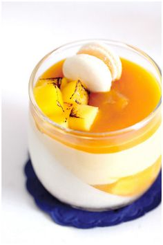 Mango passion fruit panna cotta verrines nice touch with the torched mango cubes